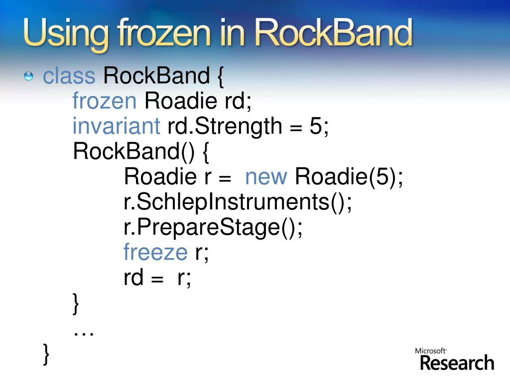 Using frozen in RockBand
