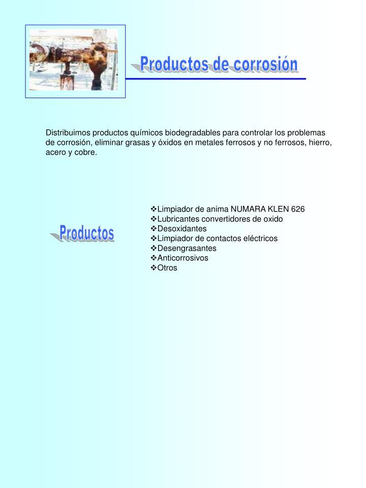 Productos de corrosión