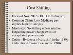 cost shifting