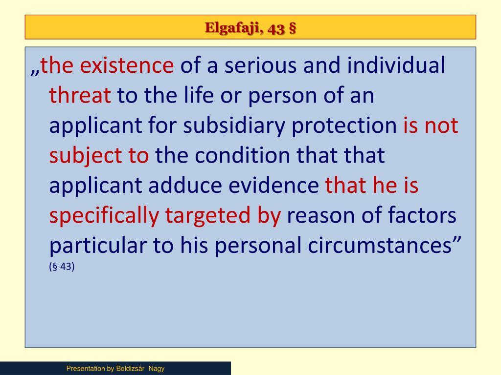 Elgafaji, 43 §