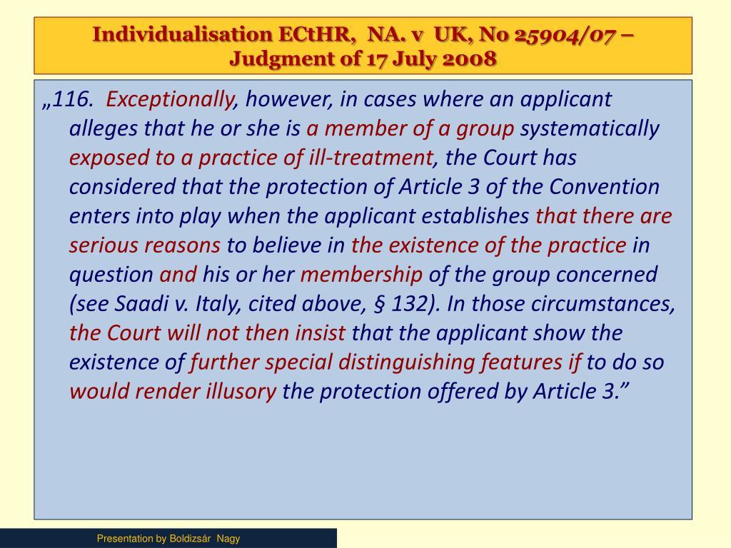 Individualisation ECtHR,  NA. v  UK, No 2