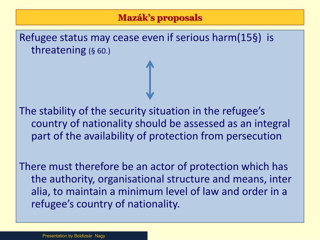 Mazák's proposals