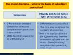 the moral dilemma what is the basis of subsidiary protection
