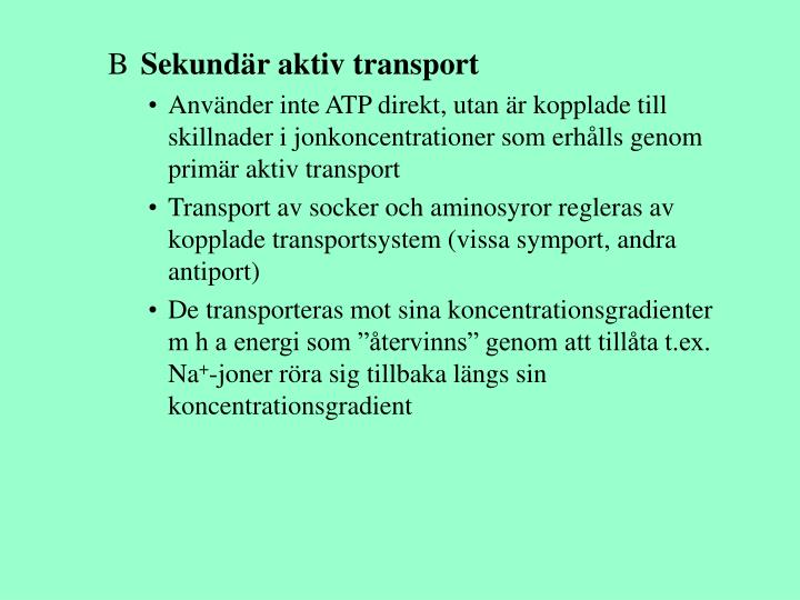 Sekundär aktiv transport