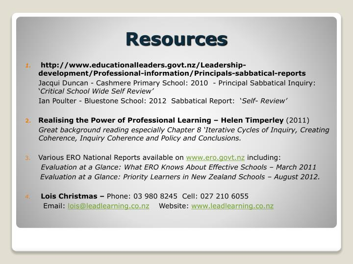 http://www.educationalleaders.govt.nz/Leadership-development/Professional-information/Principals-sabbatical-reports