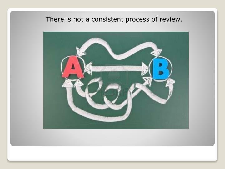 There is not a consistent process of review.