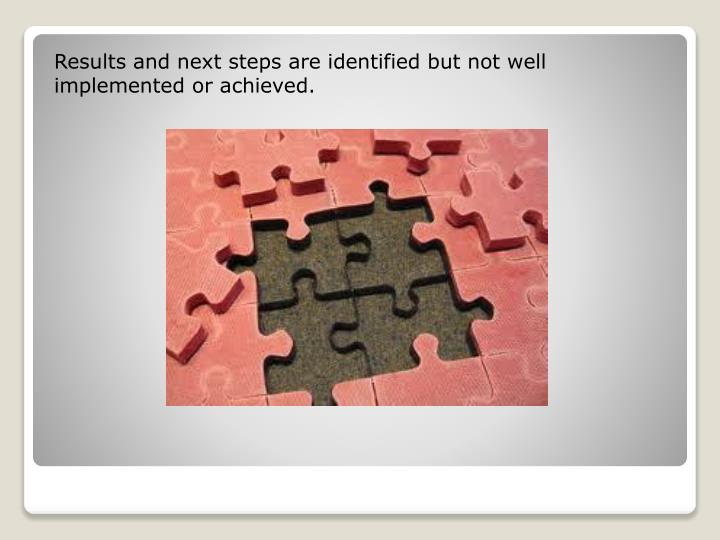 Results and next steps are identified but not well implemented or achieved.