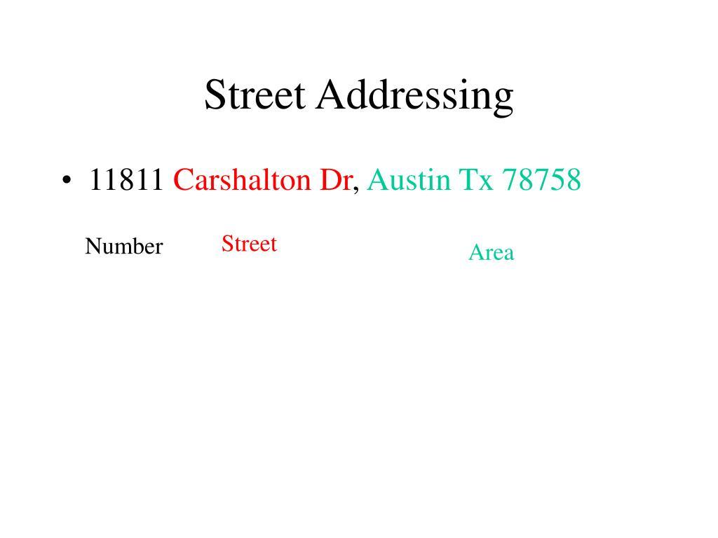 street addressing l.
