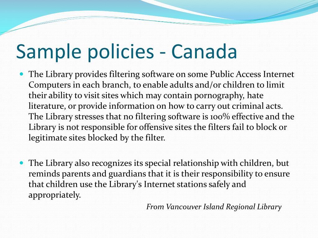 Sample policies - Canada