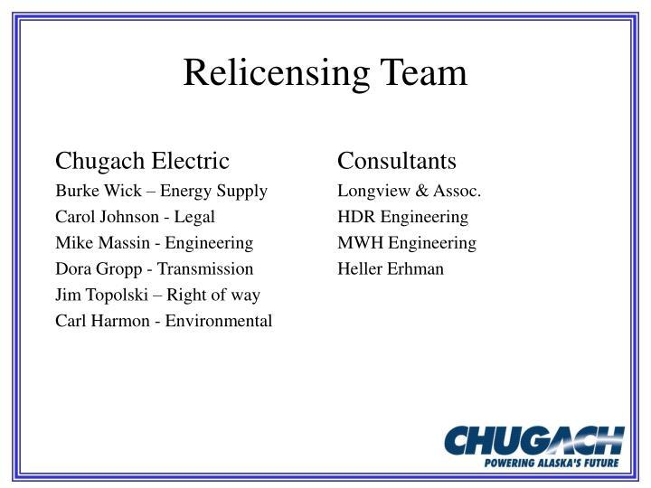 Relicensing team
