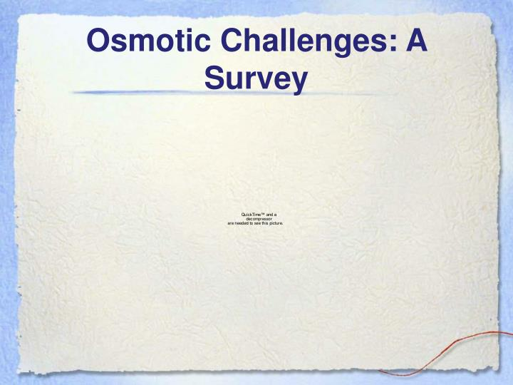 Osmotic challenges a survey