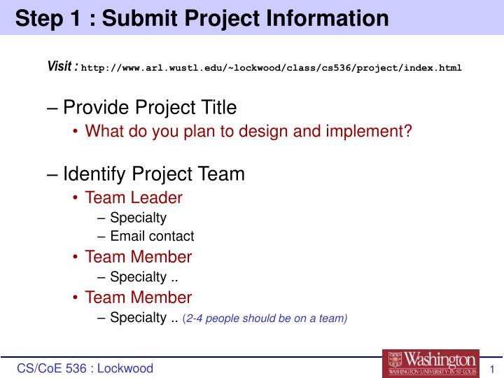 Step 1 submit project information