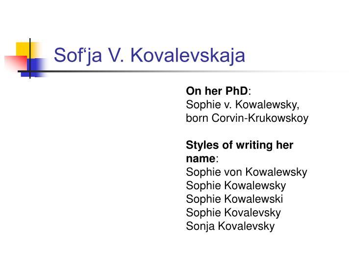 Sof'ja V. Kovalevskaja
