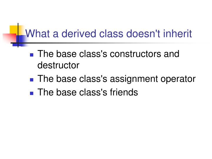 What a derived class doesn't inherit