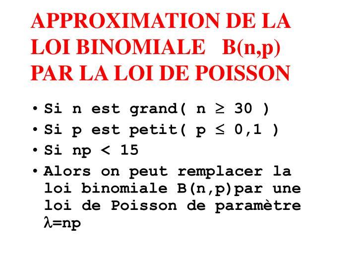 APPROXIMATION DE LA LOI BINOMIALE   B(n,p)  PAR LA LOI DE POISSON
