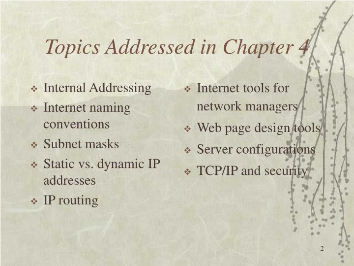 Topics addressed in chapter 4