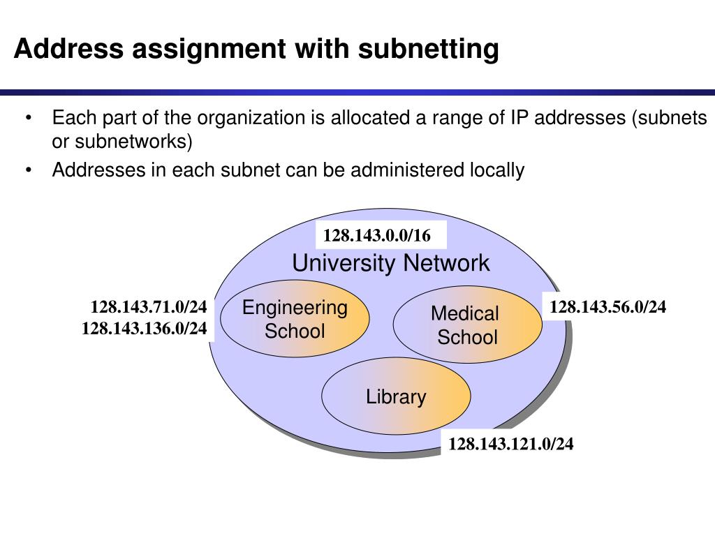 Address assignment with subnetting