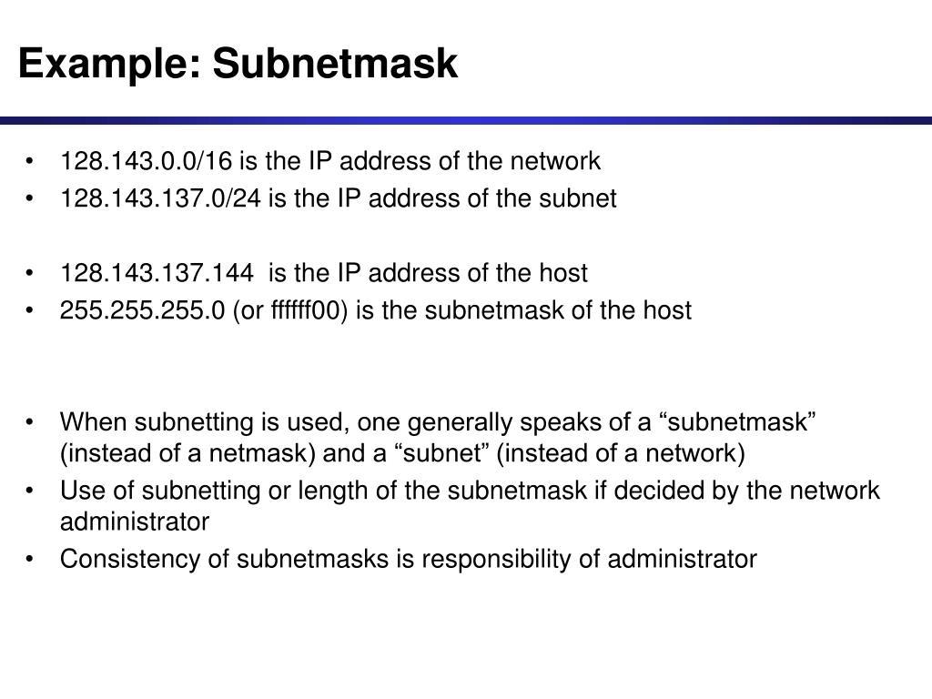 Example: Subnetmask