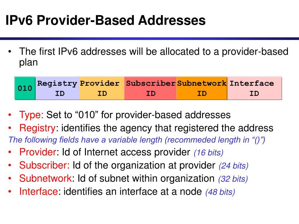 IPv6 Provider-Based Addresses
