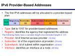 ipv6 provider based addresses