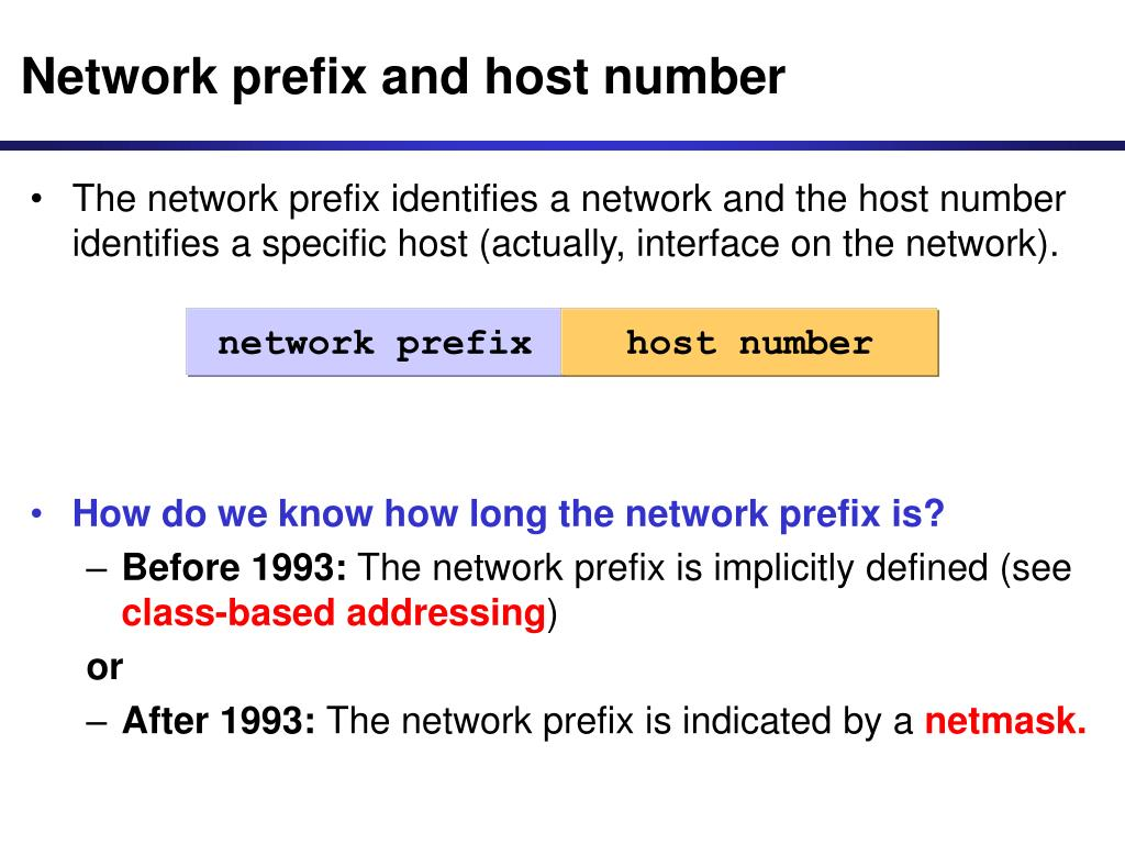 Network prefix and host number