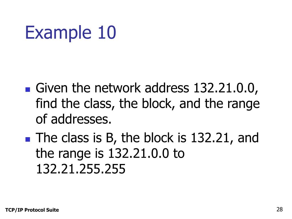 Given the network address 132.21.0.0, find the class, the block, and the range of addresses.