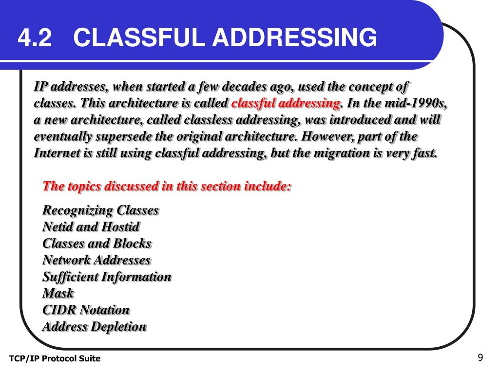 4.2   CLASSFUL ADDRESSING