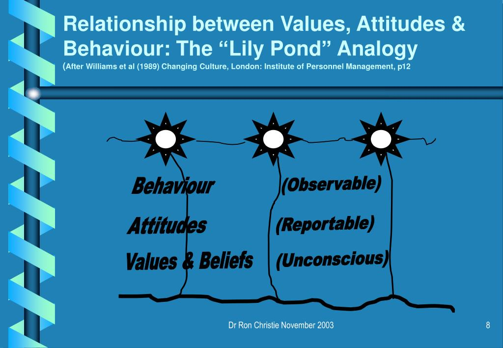 """Relationship between Values, Attitudes & Behaviour: The """"Lily Pond"""" Analogy"""