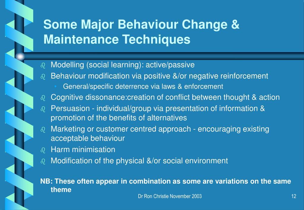 Some Major Behaviour Change & Maintenance Techniques