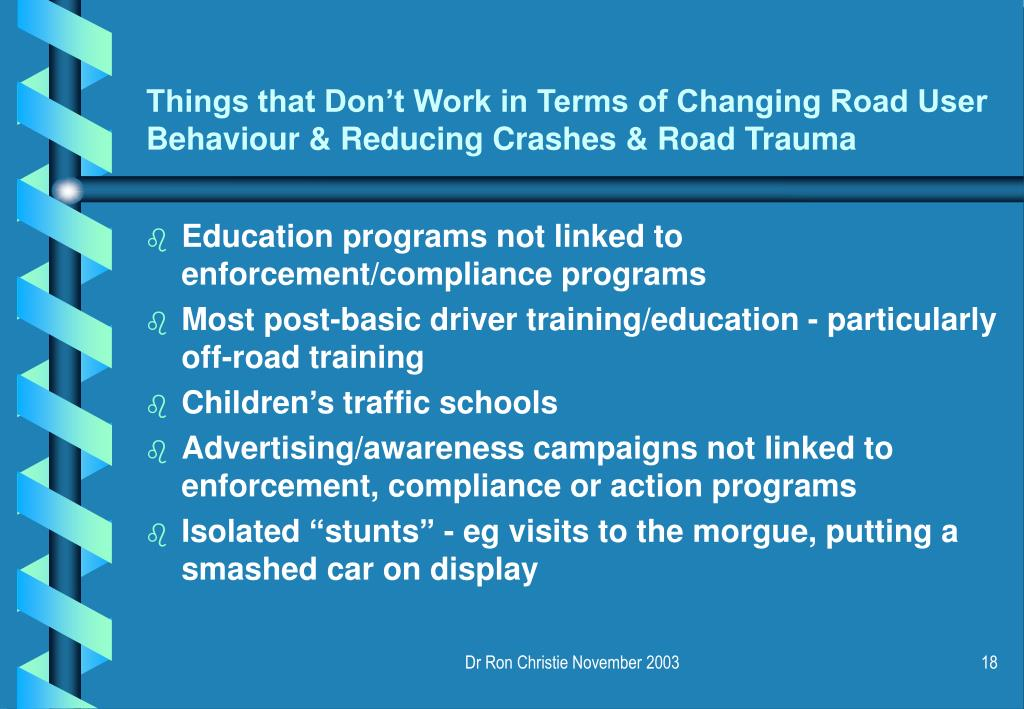 Things that Don't Work in Terms of Changing Road User Behaviour & Reducing Crashes & Road Trauma