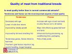 quality of meat from traditional breeds