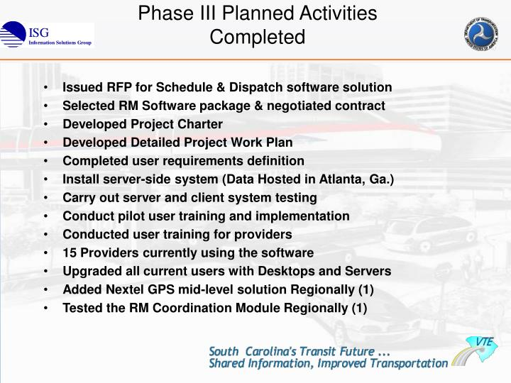 Phase III Planned Activities