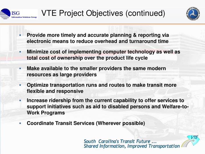 VTE Project Objectives (continued)