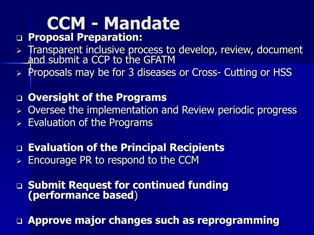 CCM - Mandate