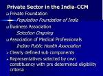 private sector in the india ccm