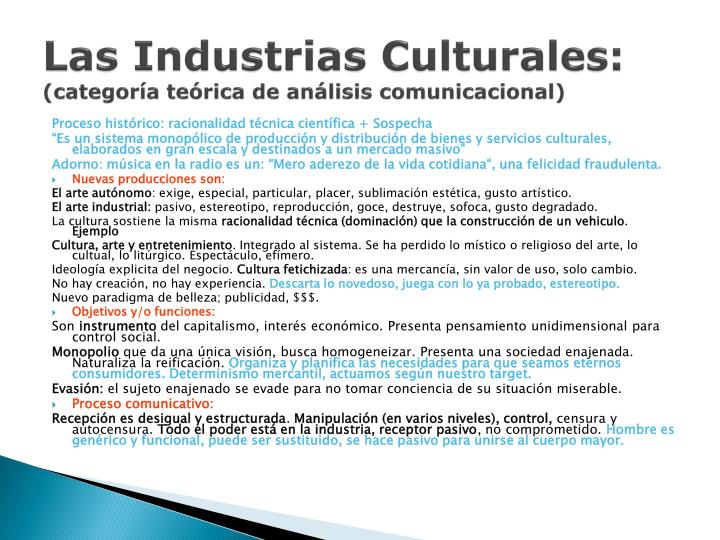 Las industrias culturales categor a te rica de an lisis comunicacional