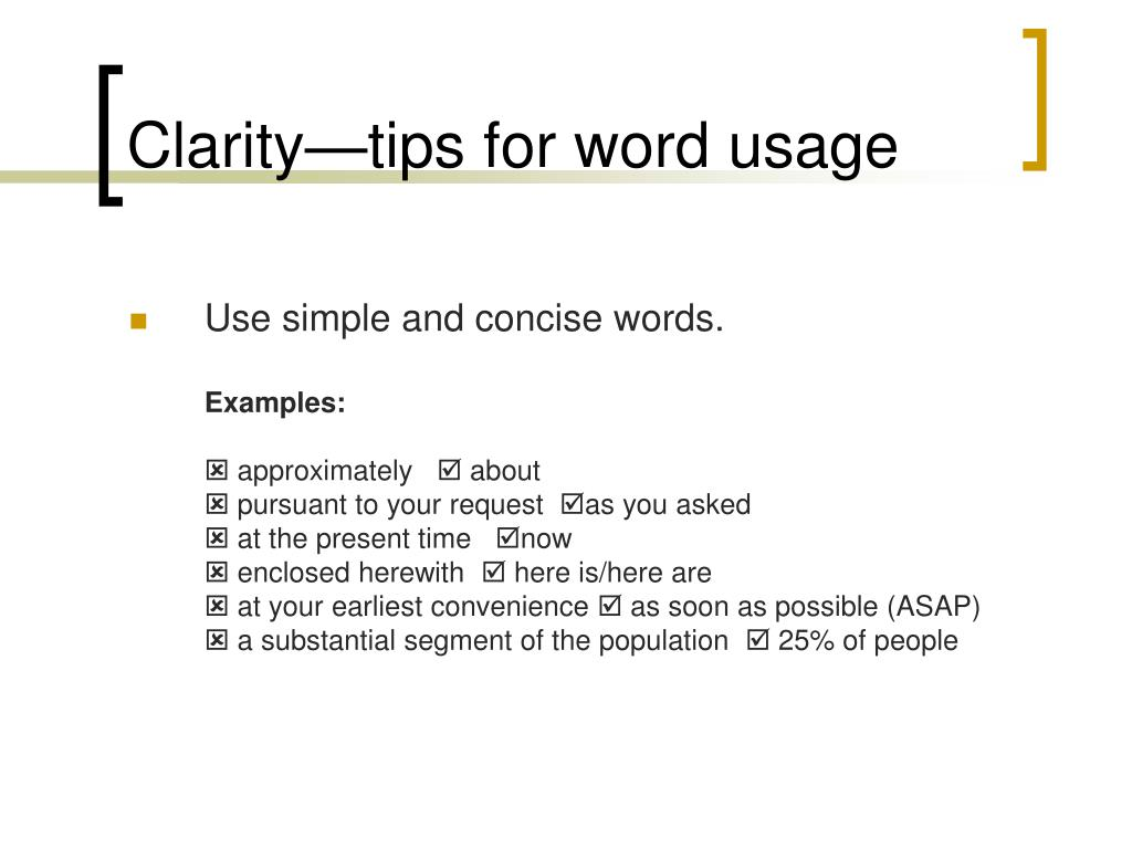 Clarity—tips for word usage