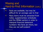 missing and hard to find information cont57