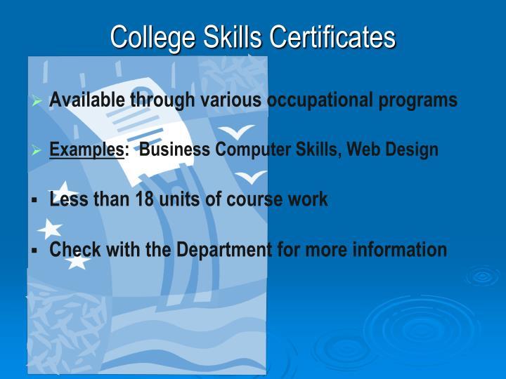 College Skills Certificates
