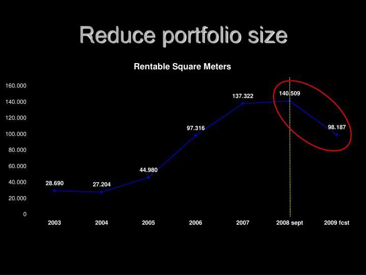 Reduce portfolio size