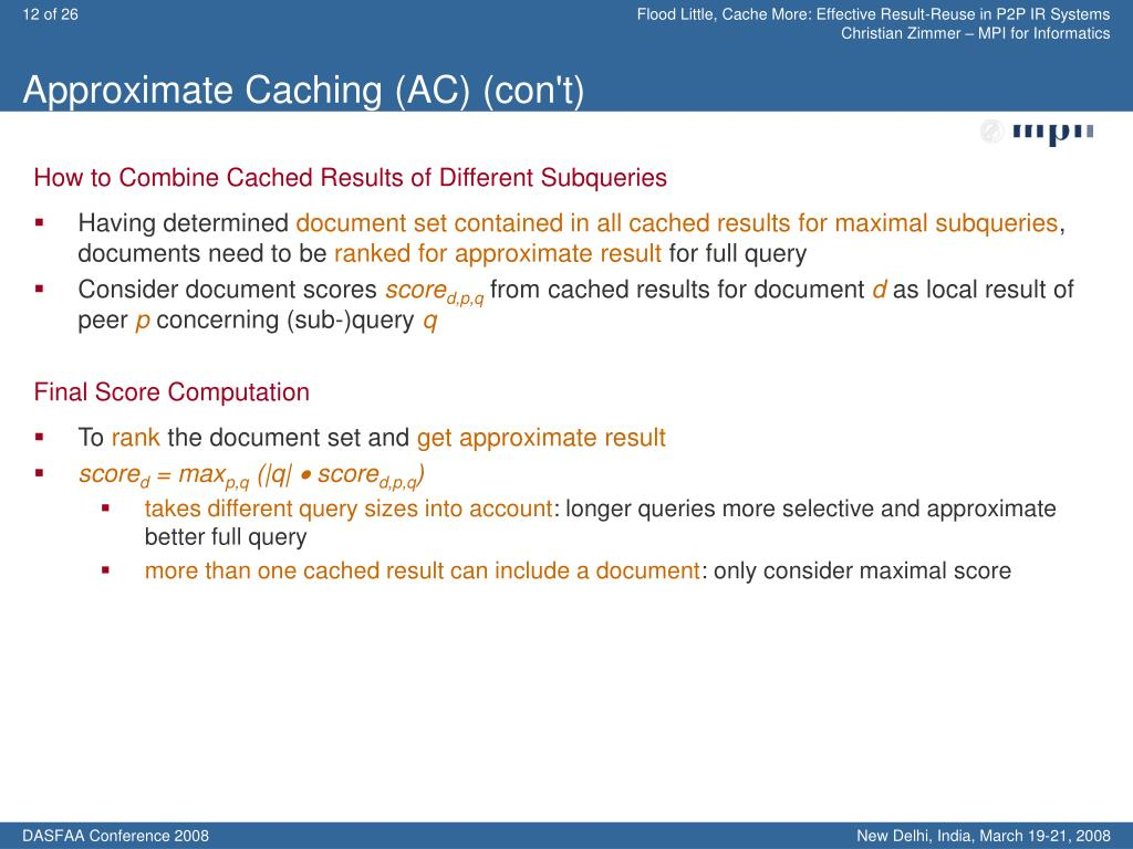 Approximate Caching (AC) (con't)