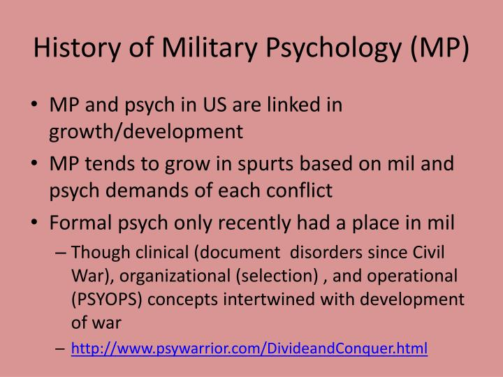 History of Military Psychology (MP)