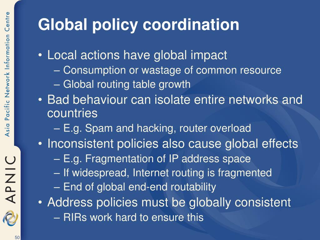 Global policy coordination