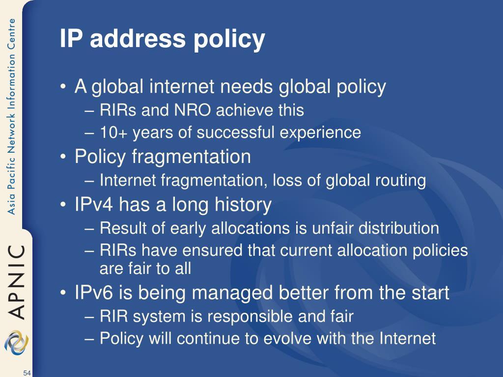 IP address policy
