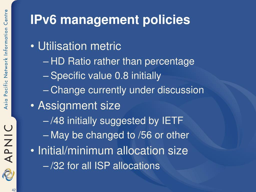 IPv6 management policies