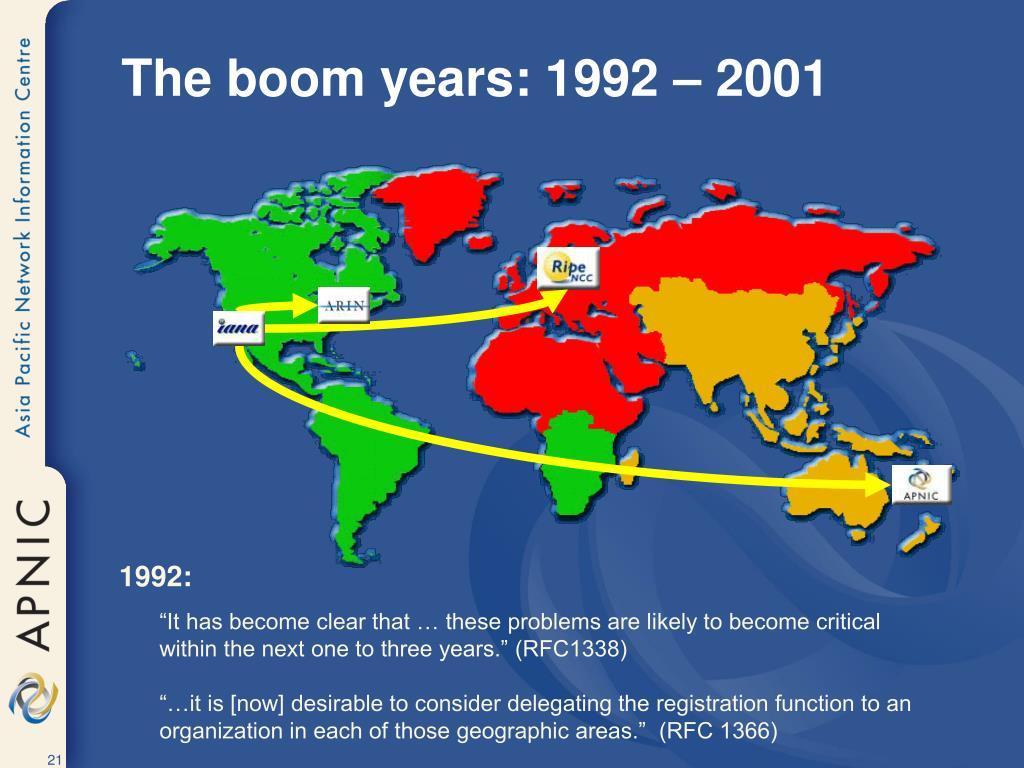 The boom years: 1992 – 2001