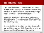 food industry risks
