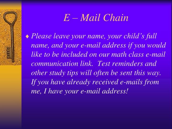 E – Mail Chain