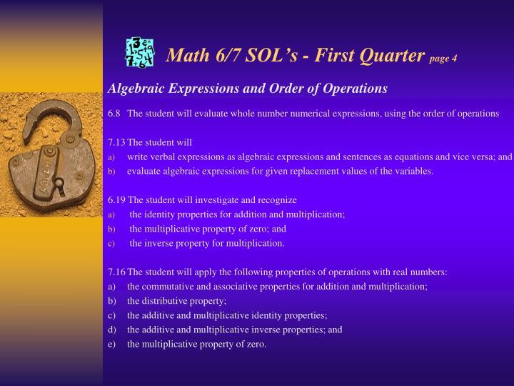 Math 6/7 SOL's - First Quarter