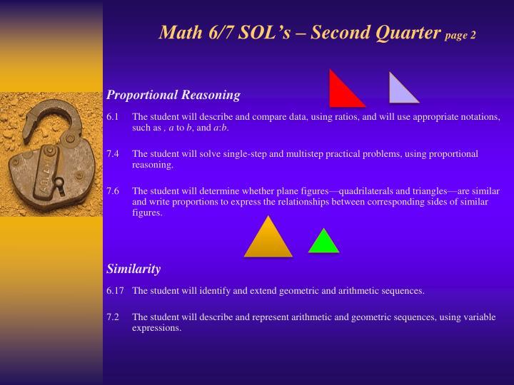 Math 6/7 SOL's – Second Quarter
